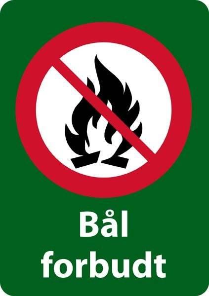 Bål forbudt forbudsskilt