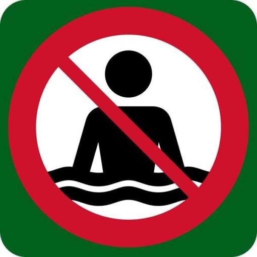 Badning forbudt. Skilt