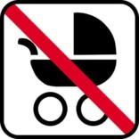 Barnevogn forbud - piktogram. Skilt