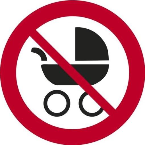 Barnevognforbudt. Forbudsskilt