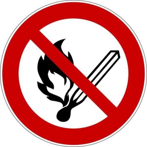 Åben ild forbudt ISO_7010_P003. Forbudsskilt