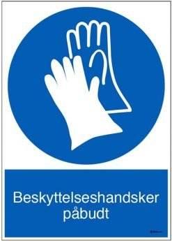 Beskyttelseshandsker påbudt. Påbudsskilt