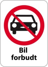 Bil forbudt skilt