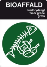 Bioaffald. Affaldsskilt