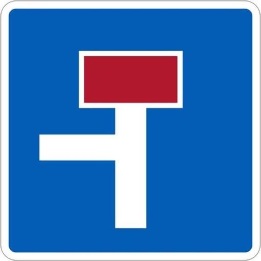 E18 Blind vej med side vej. Trafikskilt