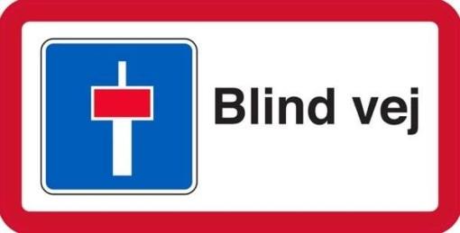 Blind vej med sti undertavle Skilt