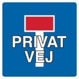 E18 Blind vej Privat vej Trafikskilt