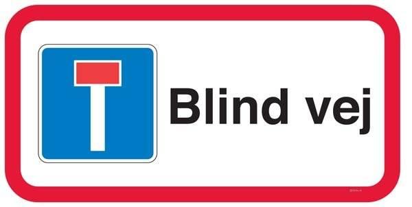 Blind vej undertavle Skilt
