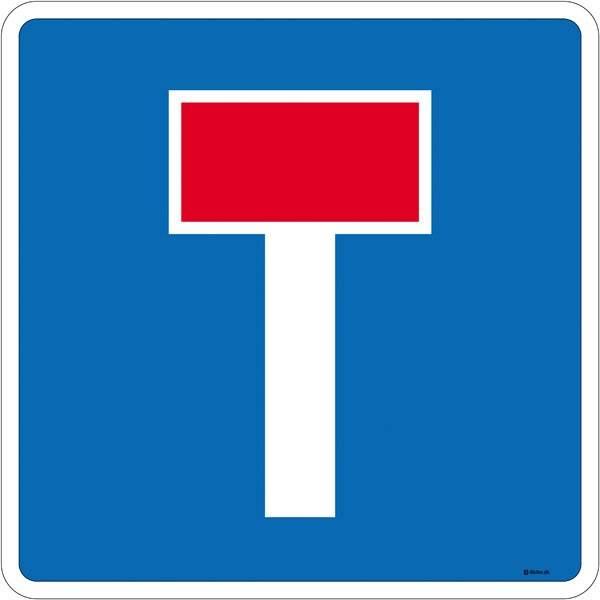 Blind vej skilt E18. skilt Firkantet. Oplysningsskilt