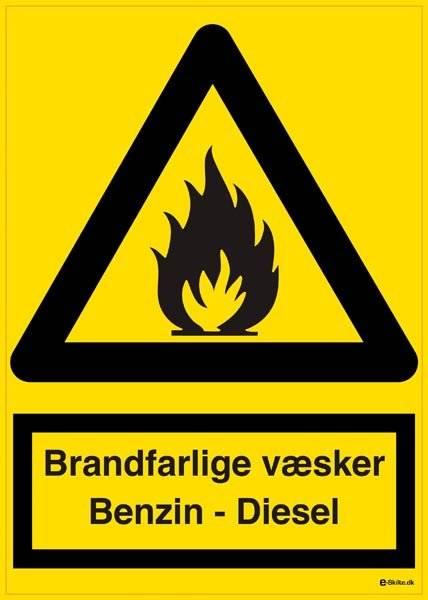 Advarselsskilt - Brandfarlige væsker Benzin og Diesel