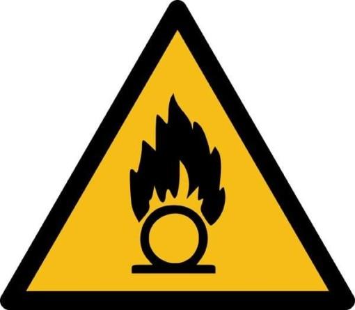 Brandnærende ISO_7010_W028. Advarselsskilt