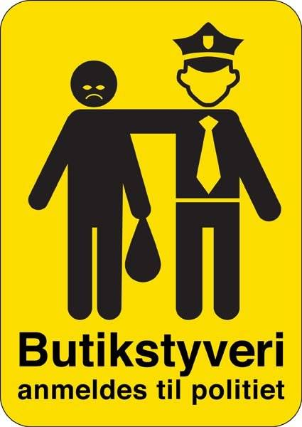 Butikstyveri anmeldes til politiet (gul) skilt