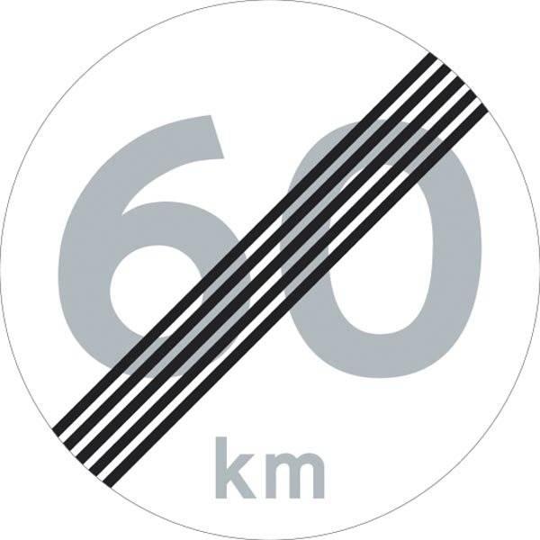 C56 60 km Hastighedsbegrænsning ophørstavle skilt