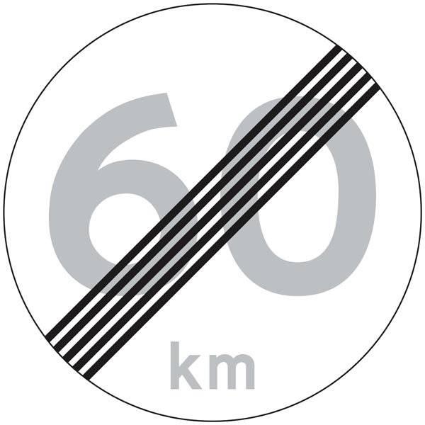 C56 Hastighedsbegrænsning ophørstavle skilt