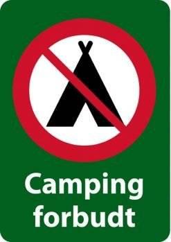 Camping forbudt skilte