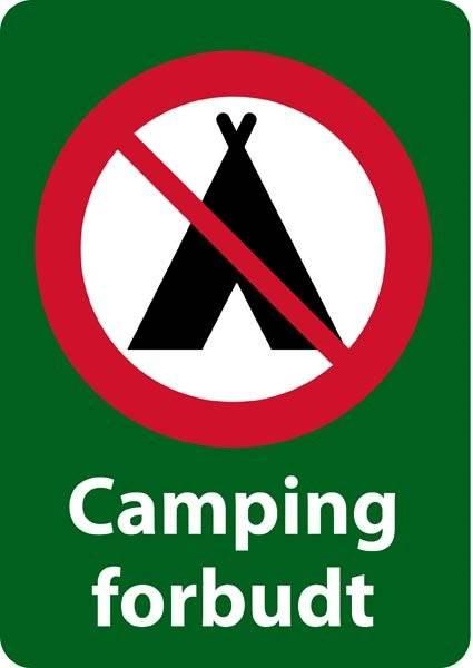 Camping forbudt forbudsskilt