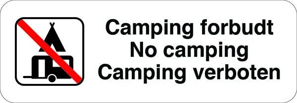 Camping forbudt - No camping Camping verboten skilt