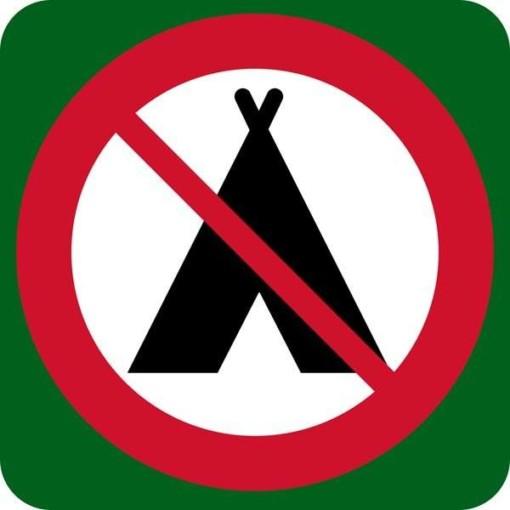 Camping forbudt skilt