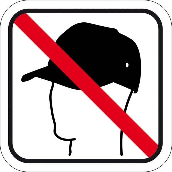 Caps forbudt. Piktogram skilt