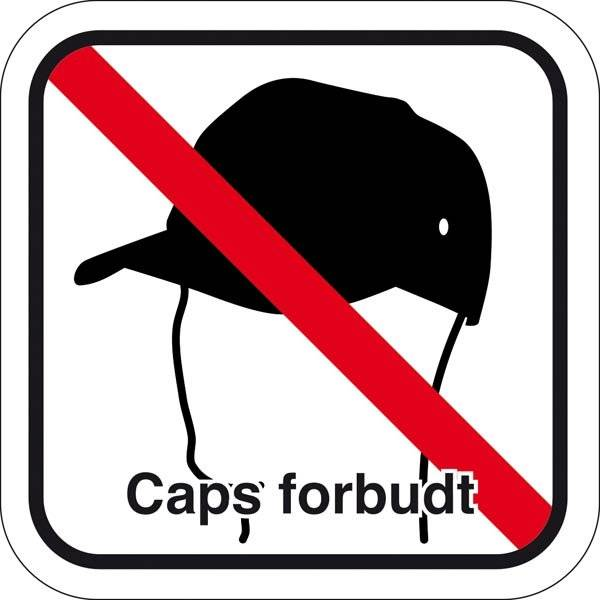 Caps forbudt med tekst. Piktogram skilt