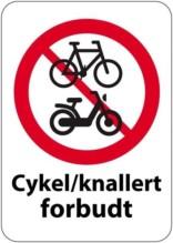 Cykel og knallert forbudt skilt