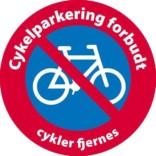 Cykelparkering forbudt cykler fjernes skilt
