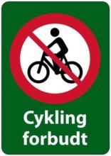 Cykling forbudt forbudsskilt