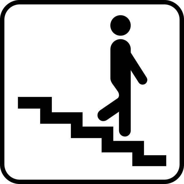 Trappe ned. Piktogram skilt
