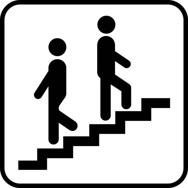 Trappe op ned. Piktogram skilt