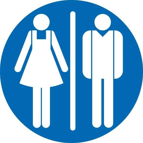 Dame mand toiletskilt rundt Blå bund Skilt