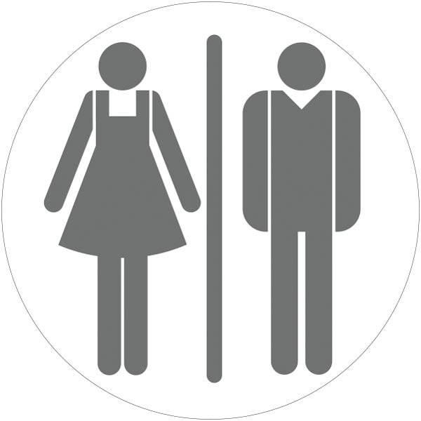 Dame mand toiletskilt rundt Grå Skilt