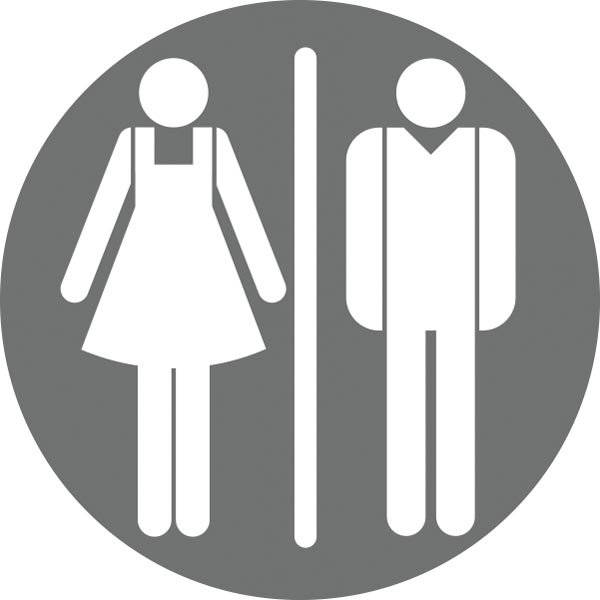 Dame mand toiletskilt rundt Grå bund Skilt