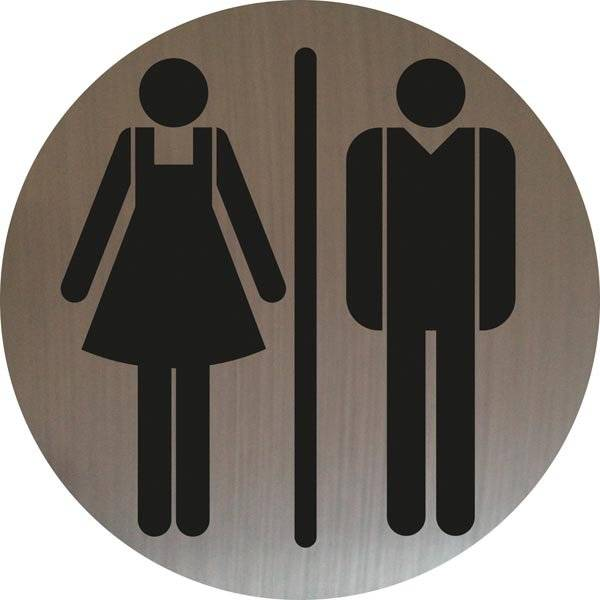 Dame mand toiletskilt rundt på børstet stålfolie Skilt