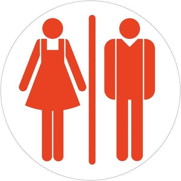 Dame mand toiletskilt rundt Rød Skilt