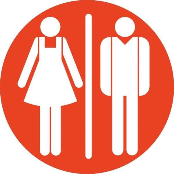 Dame mand toiletskilt rundt Rød bund Skilt
