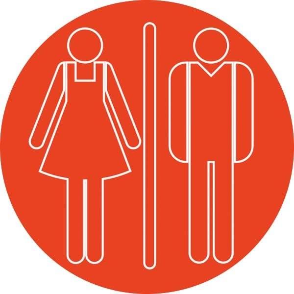 Dame mand toiletskilt rundt Rød hvid kontur Skilt