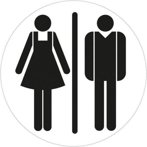 Dame mand toiletskilt rundt Sort Skilt