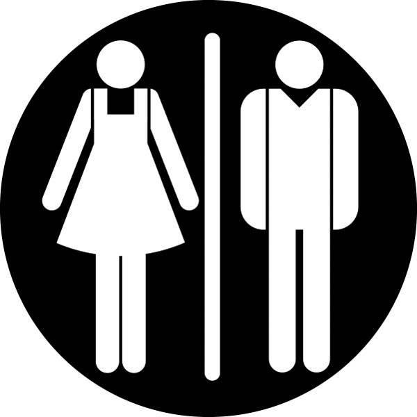 Dame mand toiletskilt rundt Sort bund Skilt
