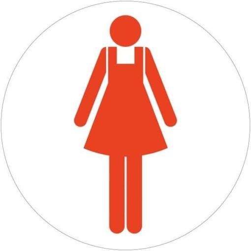 Dame toiletskilt rundt Rød Skilt