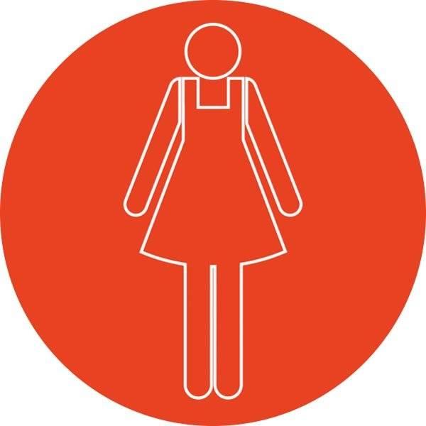 Dame toiletskilt rundt Rød bund Hvid kontur Skilt