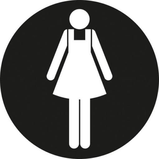 Dame toiletskilt rundt Sort bund Skilt