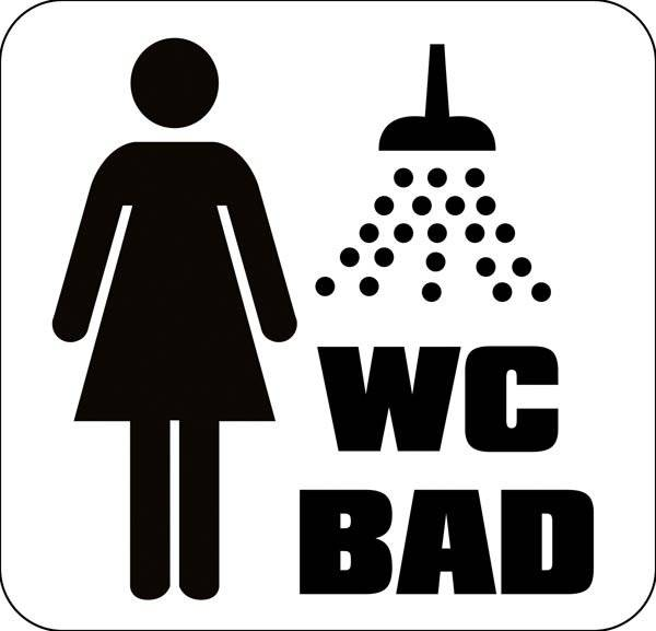 WC Damer Bad. Toiletskilt