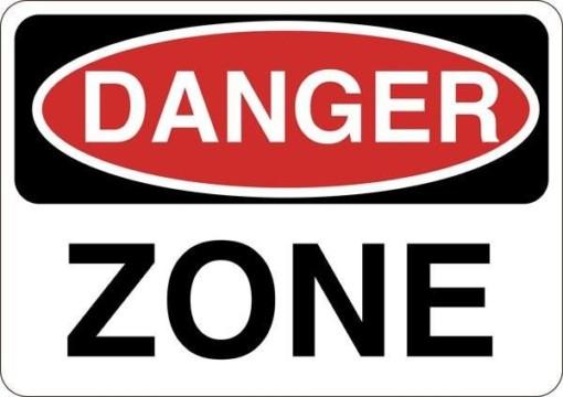 Danger zone. Advarselsskilt