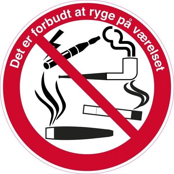 Det er forbudt at ryge på værelset. Rygeforbudsskilt