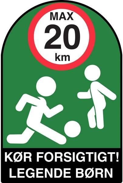Kør forsigtigt! Legende børn!. skilt