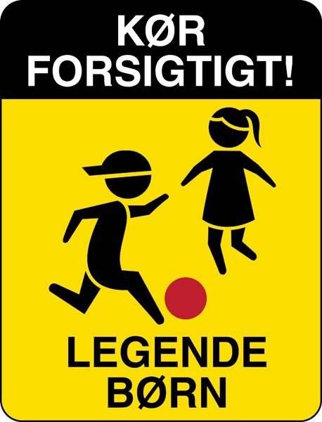 Kør forsigtigt! Legende børn Gul. skilt
