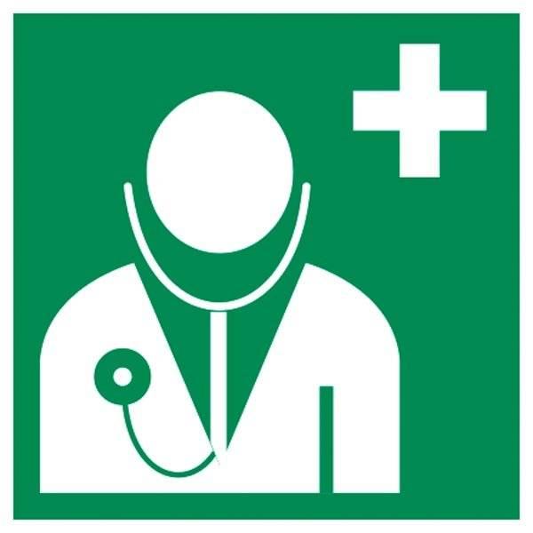E009 ISO 7010 Redning Læge.  Redningsskilt