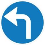 Drej til venstre påbudt. Påbudsskilt