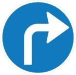 Drej til højre påbudt. Påbudsskilt