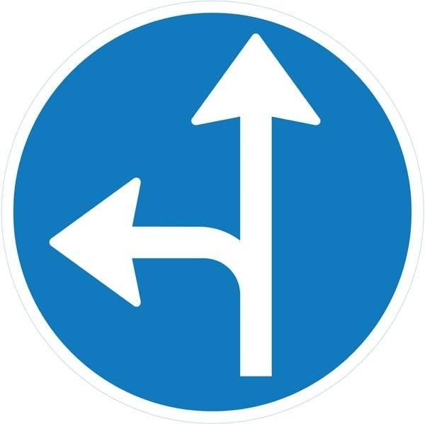 Fortsæt ligeud eller drej til venstre påbudt. Påbudsskilt